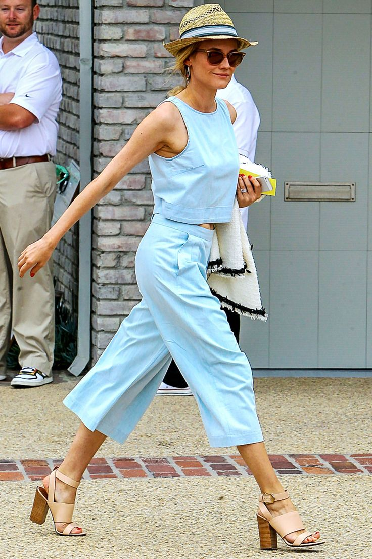 Shop Diane Kruger's matching crop top and pants set, perfect for summer: