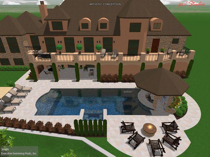 roman shaped poolspa swim up barcabana firepit custom pool designs pinterest swim