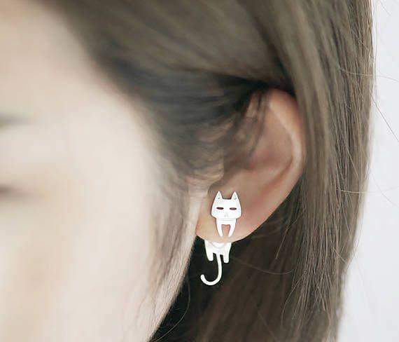 Pendientes de chaqueta de oreja de gato plata esterlina oído