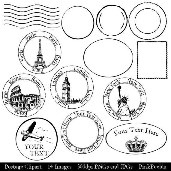Postage Clip Art Clipart Postmark Clip Art Clipart by PinkPueblo, $6.00