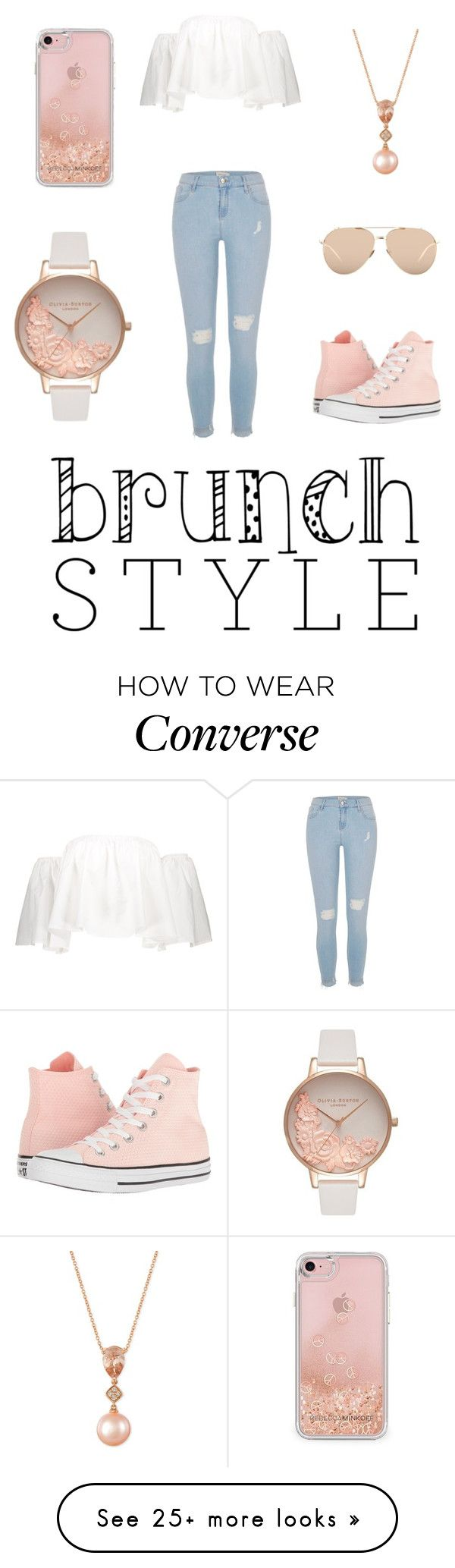 """#BrunchGoals"" by lizabeth-rose on Polyvore featuring Rebecca Minkoff, River Island, LE VIAN, Linda Farrow, Converse and Olivia Burton I'd say a lonher white shirt but the rest is cute!"