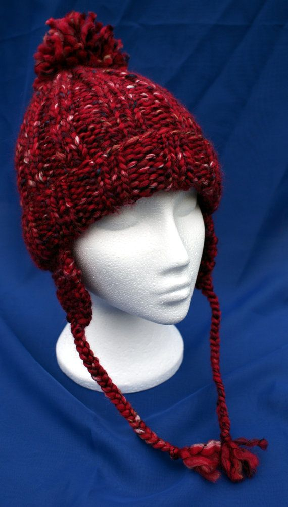 Hand knitted woolly ear flap hat with bobble in by LambsWoolWares