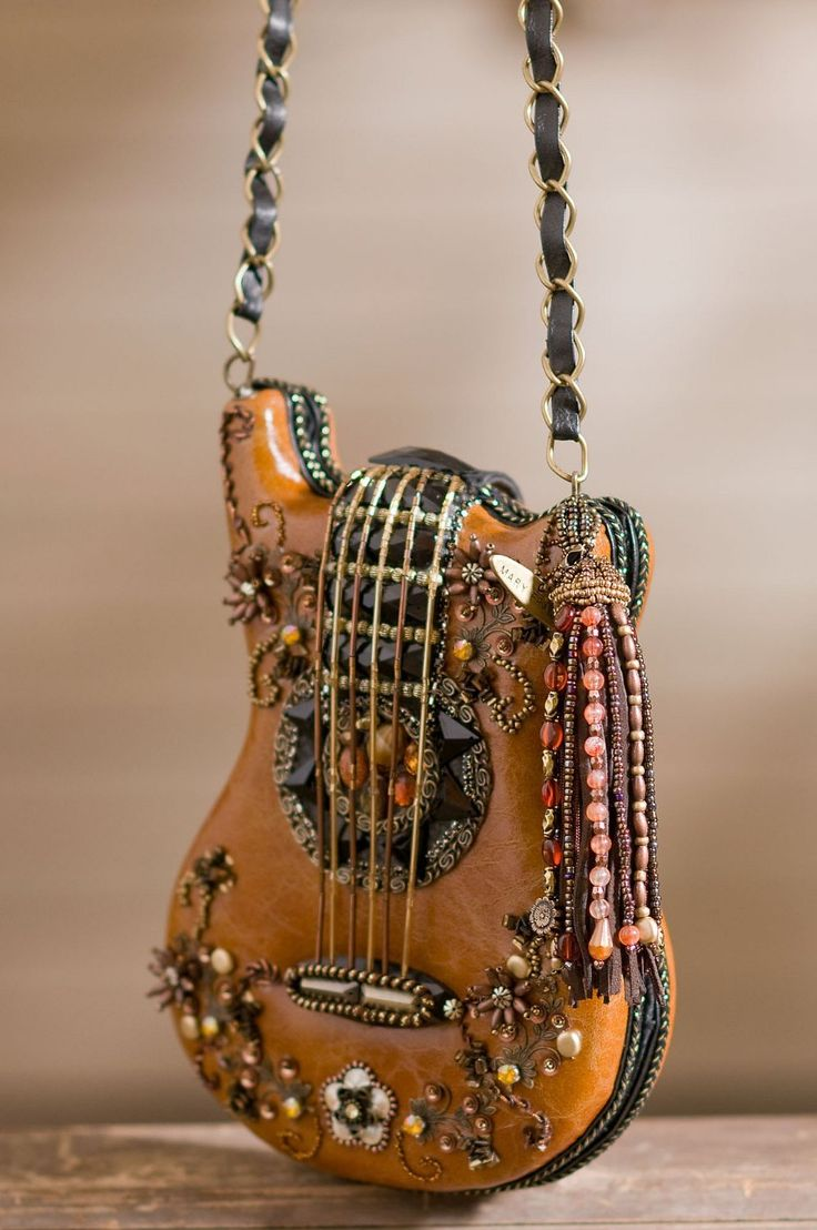 Mary Frances Hall Of Fame Guitar Carmel Brown Handbag--how cool is this?