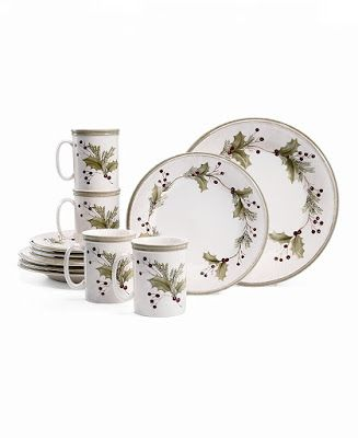 This festive 12-piece set comes with 4 dinner plates, 4 accent plates, and 4 mugs.  Crafted of ironstone, this dinnerware set is both dishwasher and microwave safe.  This is a beautiful dinnerware set that will make any table festive for the holidays.