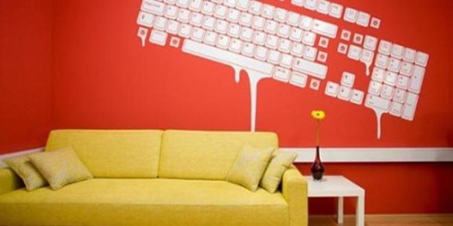 Wandschablone Küche Gestaltung Ideen Wandfarbe blau weiß gelb