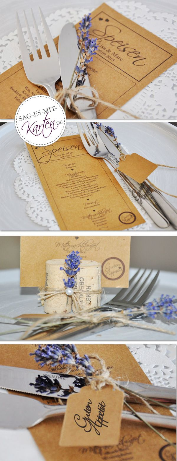 vintage menükarten kraftpapier | einladungskarte hochzeit