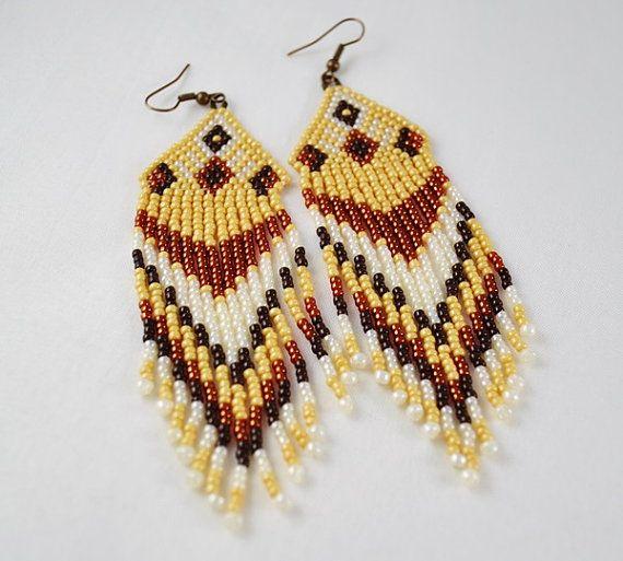 Beaded Earrings Native American Style Long Dangle Earrings