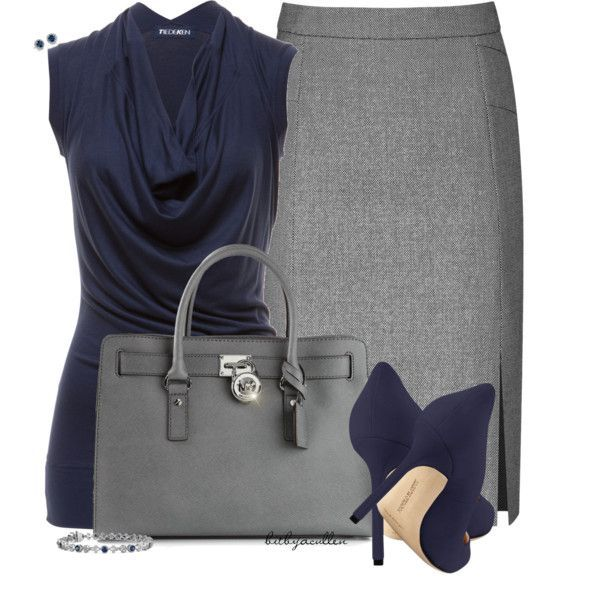 Blue & Gray, created by bitbyacullen on Polyvore #cynthiawhiteandassociates #personalbrand #workattire