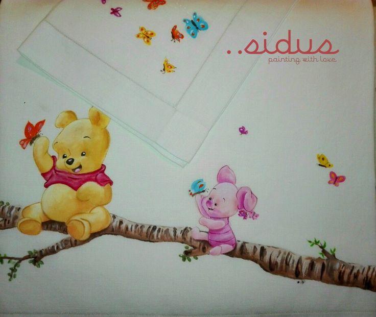 Lenzuolo Winnie the pooh dipinto a mano cameretta bimbi