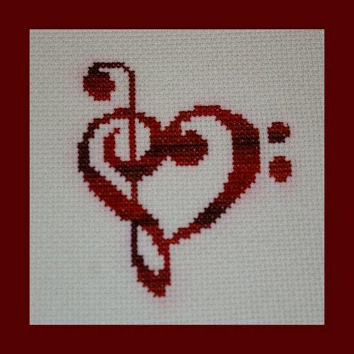 Music Clef Hearts Cross Stitch Pattern by BlueTopazStitchery