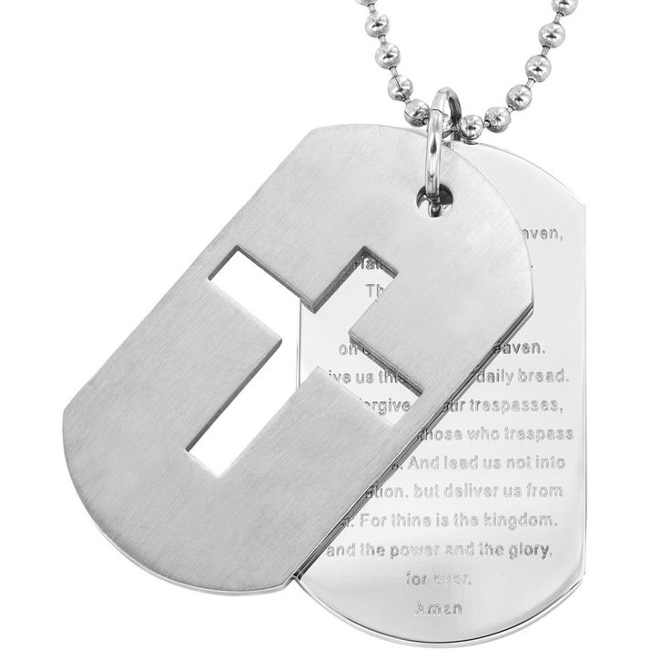 Men's Stainless Steel Cross and 'Lord's Prayer' Double Dog Tag Necklace, Silver
