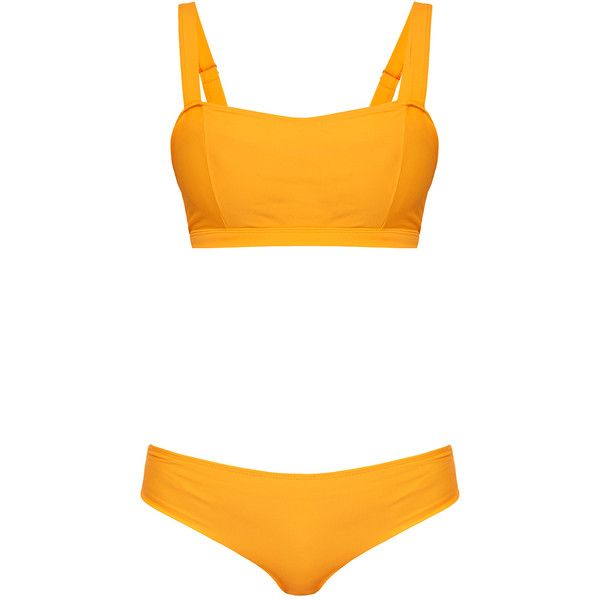 Bower L' Amour Orange Bikini Set ($79) ❤ liked on Polyvore featuring swimwear, bikinis, orange, tankini tops, sporty bikinis, bikini tops, sporty bikini tops and underwire swim tops