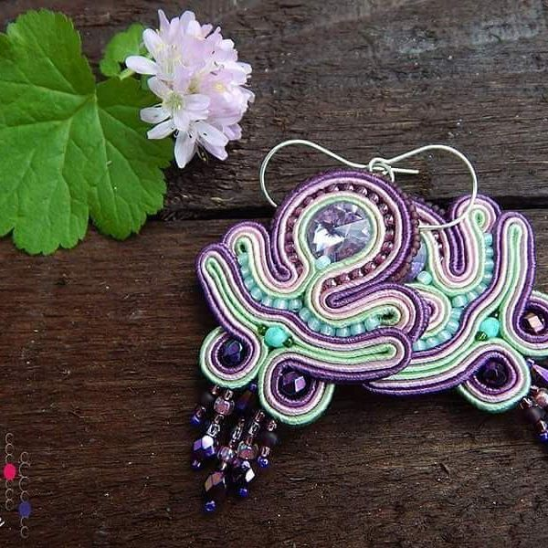 Violet earrings #sutasz #soutache #earrings #kolczyki #handmade #jewelry #fashion #fashiongram #madeinpoland #violet