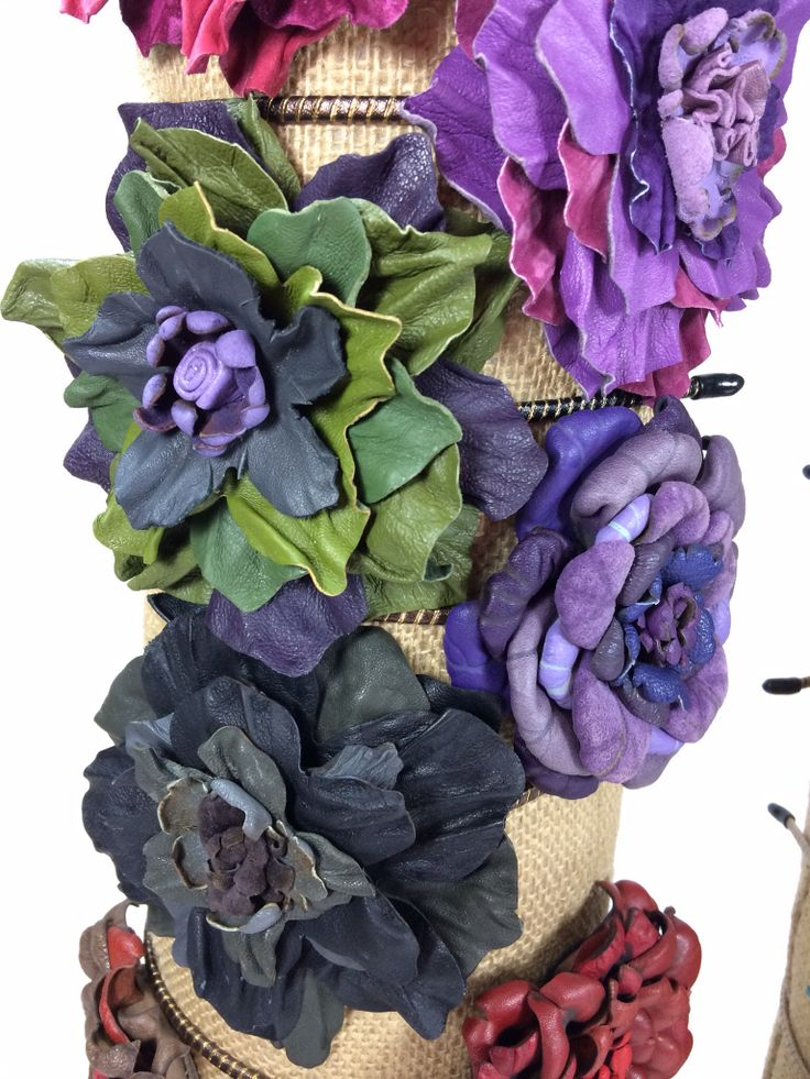 Upcycled leather flower headbands from ReFind Originals.