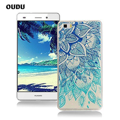 awesome OuDu Silicone Case for Huawei P8 Lite Soft TPU Rubber Cover Flexible Slim Case Smooth Lightweight Skin Ultra Thin Shell Creative Design Cover - Blue Lotus