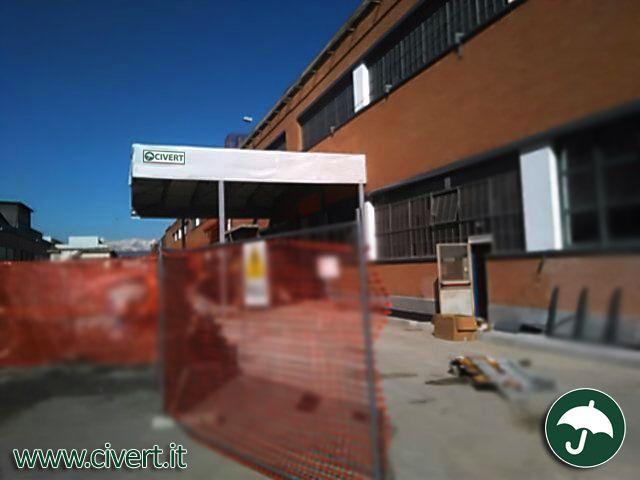 tettoie a sbalzo con coperture mobili in pvc Civert per Fiat Mirafiori #coperture #mobili #capannoni #tunnel #pvc #industriali #cordoli #prefabbricati #Fiat #Mirafiori #Torino