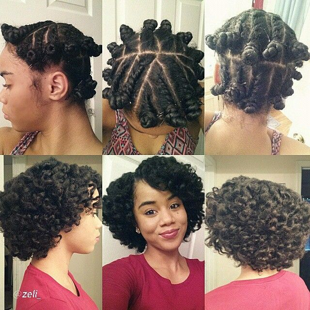 Flat twist with Bantu knot out