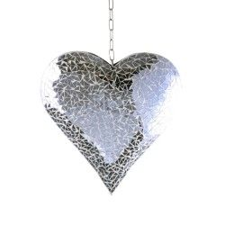 garden ornaments and accessories. x-large silver mosaic heart hanger for the garden or home ornaments \u0026 accessories and