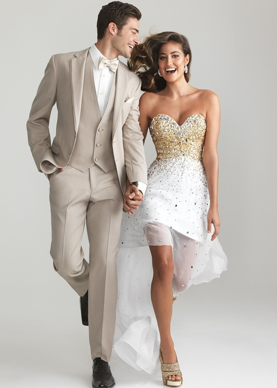 What color tux goes with gold dress