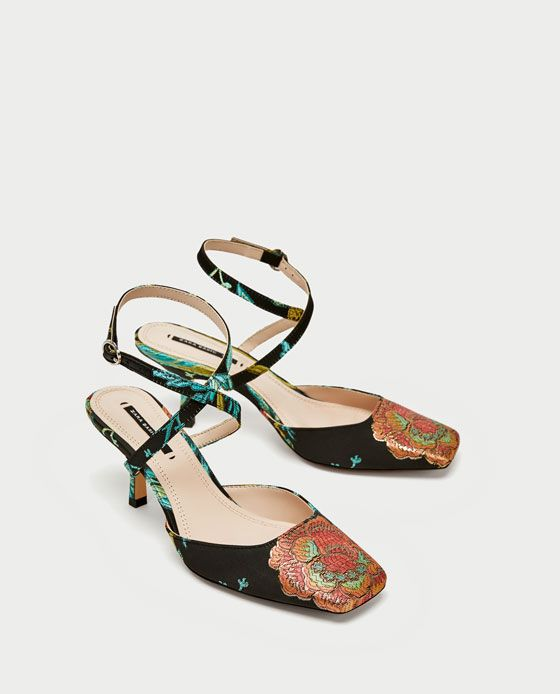 ZARA - WOMAN - EMBROIDERED KITTEN HEEL SLINGBACK SHOES