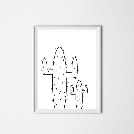 Cactus Print / Instant Download / Digital Printable Art / Western Nursery / Black White / Minimalist / Home Decor / Illustration / Cacti