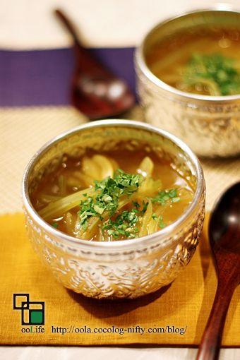 葉っぱも使おう☆セロリのカレースープ
