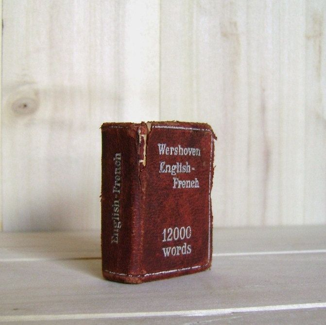 Antique Miniature English French Dictionary Tiny Book Leather Bound Miniature Book Schmidt & Gunther by CrookedHouseBooks on Etsy