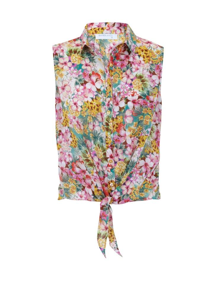 Camisa Anudada Estampado Flores