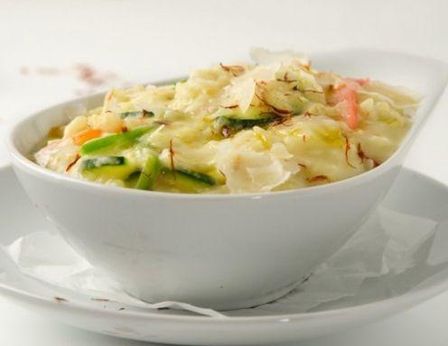 Safranrisotto mit Zucchini und Shrimps Rezept