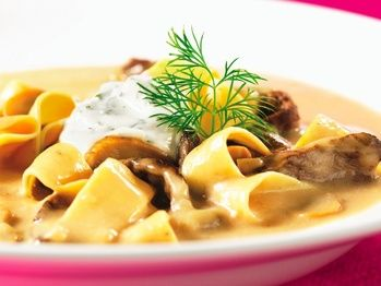 For this spin on a classic dish, creamy, beefy soup, loaded with mushrooms and gilded with a touch of Cognac, is ladled onto tender bites of steak and silky egg noodles. Make sure you don't skimp on the cut of meat — tough steak will ruin the luxurious effect. If you really want to make a splash, try using beef tenderloin.