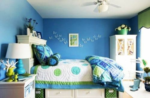 Farbgestaltung fürs Jugendzimmer – 100 Deko- und Einrichtungsideen -  blau grün schmetterlinge Farbgestaltung fürs Jugendzimmer