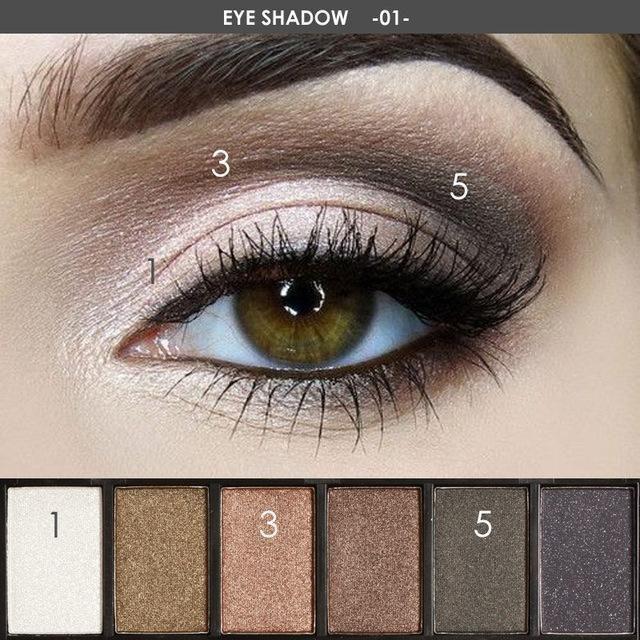 Focallure 6 Colors Eyeshadow Palette Glamorous Smokey Eye Shadow Shimmer Colors …