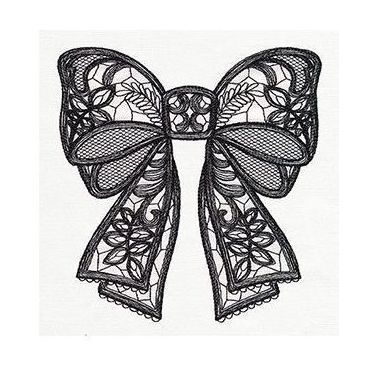 Black Lacy Bow Tattoo Design
