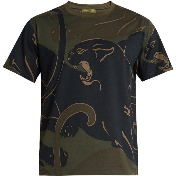 Valentino Panther-print crew-neck T-shirt (€610) ❤ liked on Polyvore featuring men's fashion, men's clothing, men's shirts, men's t-shirts, green multi, mens leopard print t shirt, mens patterned shirts, j crew mens shirts, mens crew neck t shirts and mens patterned t shirts