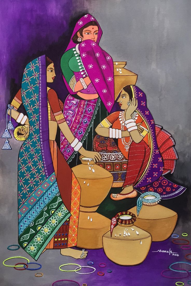 A group of milkmaids is exhibited in this artwork who are employed in making dairy products from milk. #IndianArt #Painting #ArtWork #Art #MilkMaids #Life