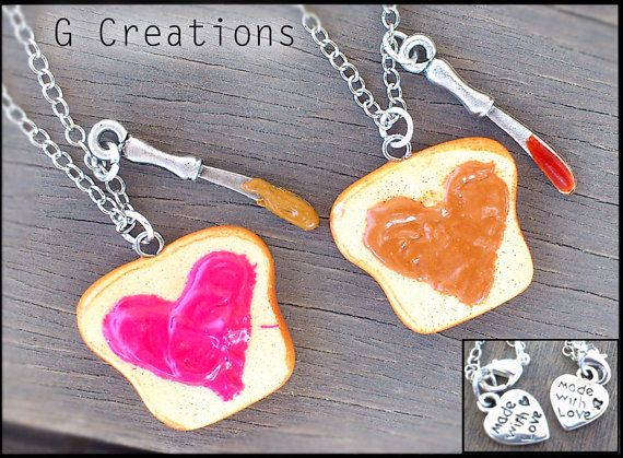 Peanut Butter & Jelly Best Friend Necklaces - Strawberry Jam - PB and J - Heart Kawaii Polymer Pendant - Miniature Food Jewelry - Sandwich via Etsy