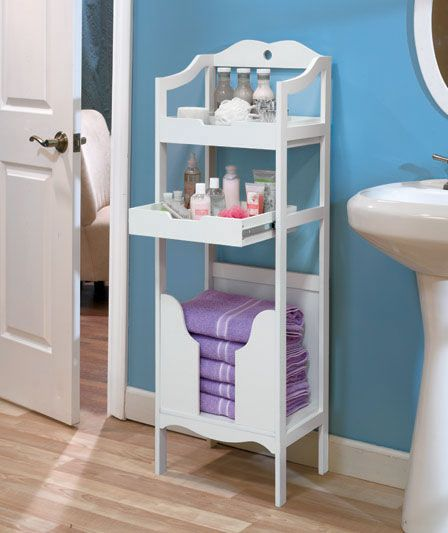 Perfect bathroom organizer with a pull-out shelf.