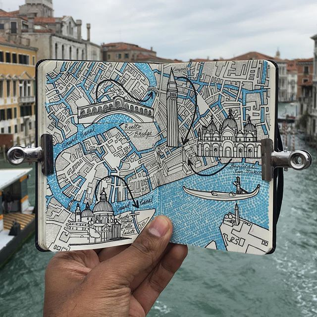 Moleskine map drawing of Venice, enjoying a casual day trip strolling the tiny…