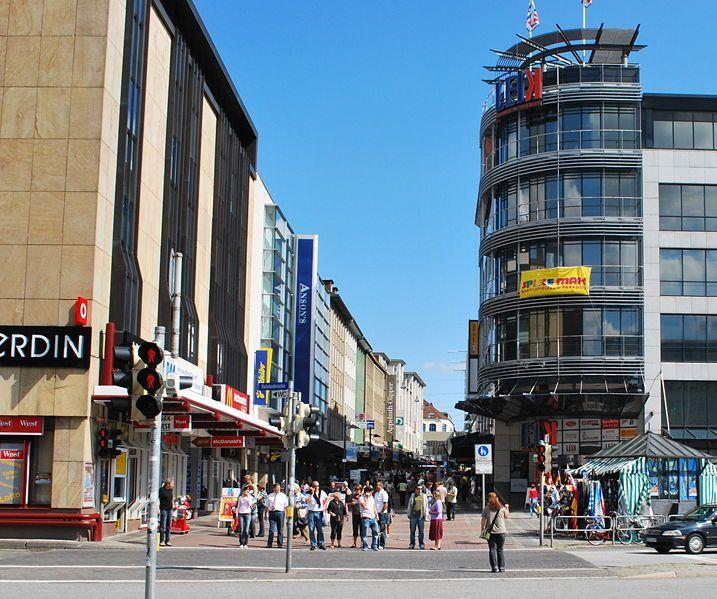 Holstenstraße in Kiel, is one of the longest shopping streets in Germany.