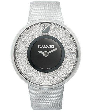 Swarovski Watch, Women's Swiss Crystalline Silver-Tone Structured Fabric Strap 40mm