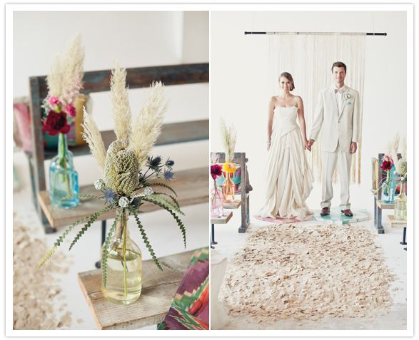 muted tones with pops of floral color