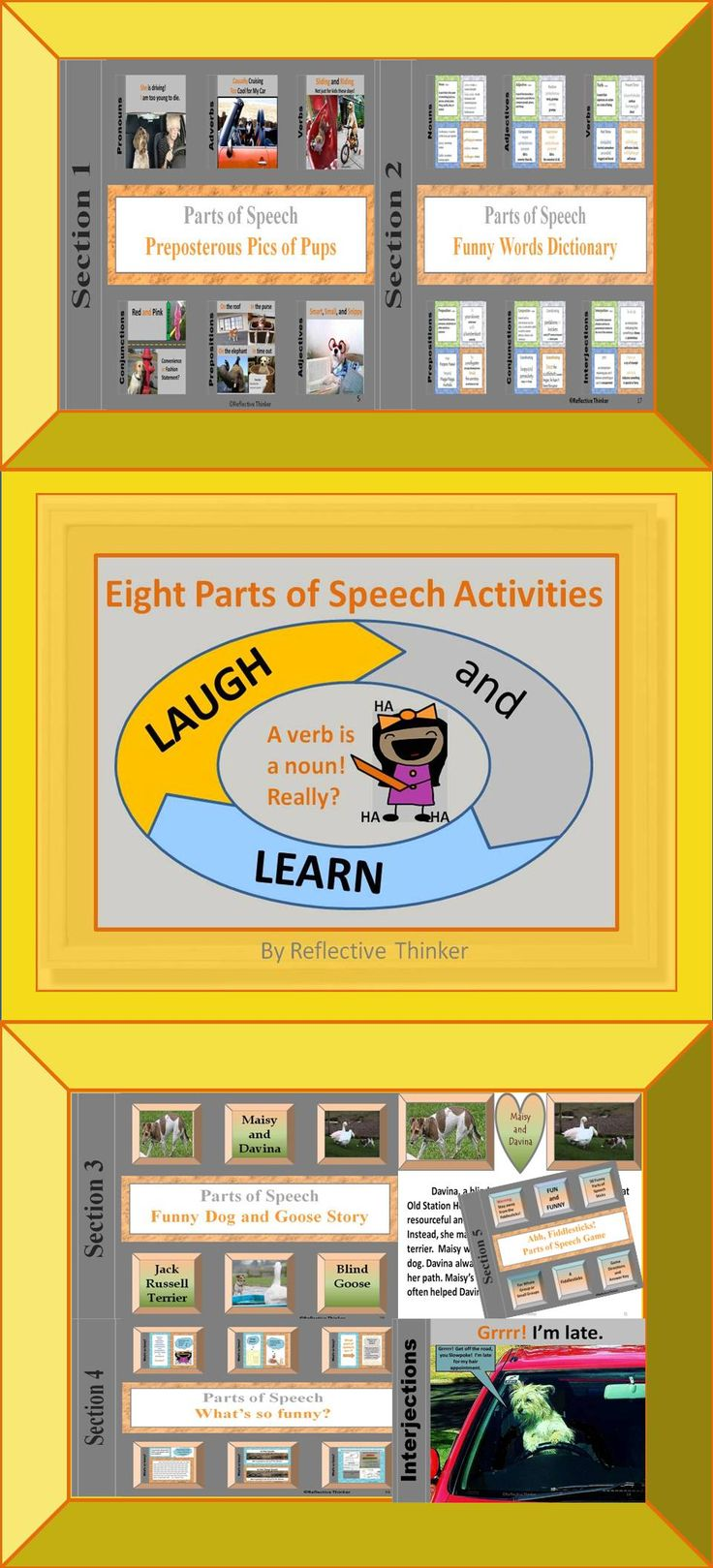 FUN! Use this resource for an engaging review of the parts of speech.  100+ humorous items!  LAUGHTER stimulates the brain which increases alertness and enhances retention of information.  Humor is infused throughout the five engaging activities found in this 56-slide PowerPoint resource designed to further students' knowledge of the parts of speech as well as provide opportunities for students to practice higher level thinking skills. #partsofspeech