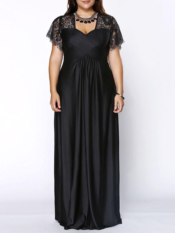 Stylish Women's Plus Size Sweetheart Neckline Lace Panelled Dress