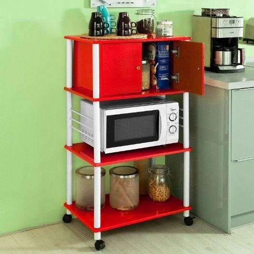 SoBuy Forno a microonde Mensole, Carrello da cucina, armadietto cucina, in metallo e legno,FRG12-R,IT EURO 59,95