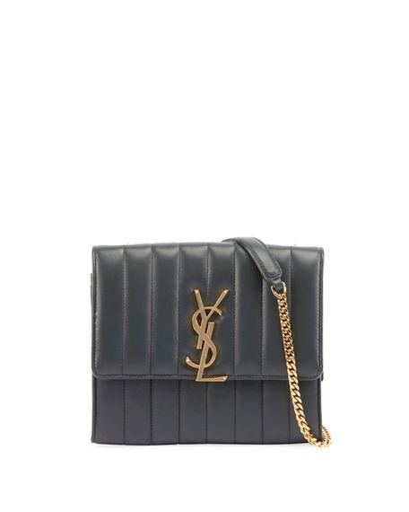 e63b039dce3 SAINT LAURENT Vicky Medium YSL Monogram Chain Crossbody Bag. #saintlaurent # bags #shoulder bags #leather #crossbody