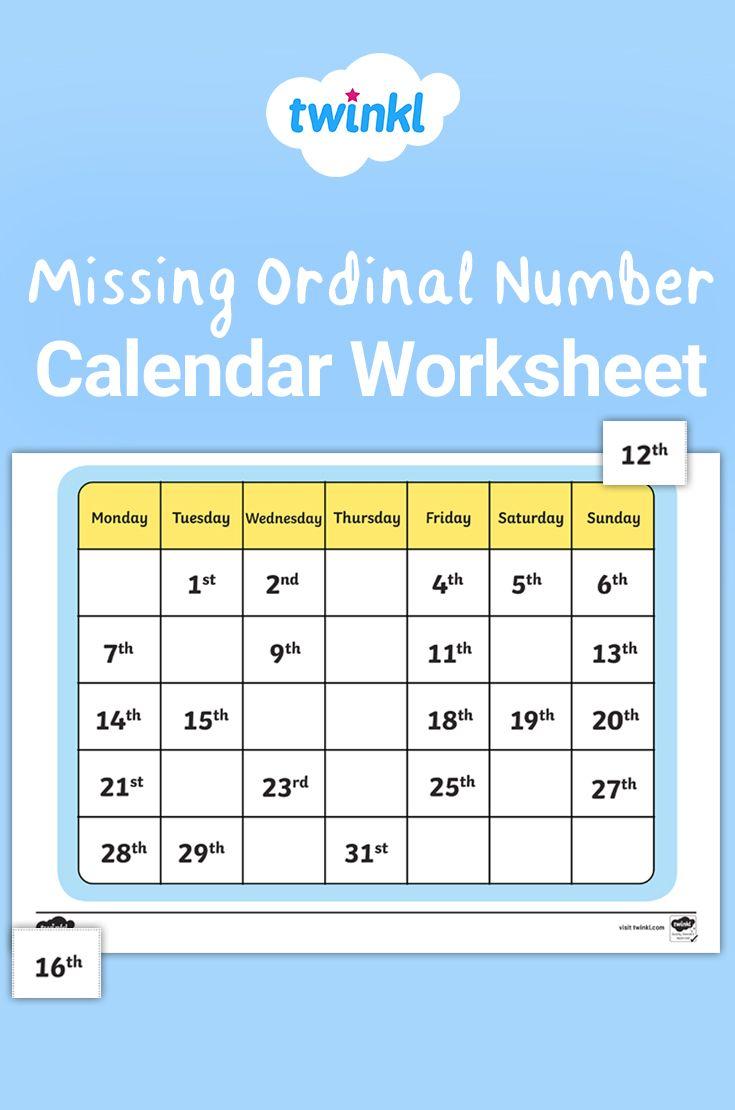 Calendar Missing Ordinal Number Worksheet Ordinal Numbers Calendar Worksheets Calendar Math [ 1110 x 735 Pixel ]