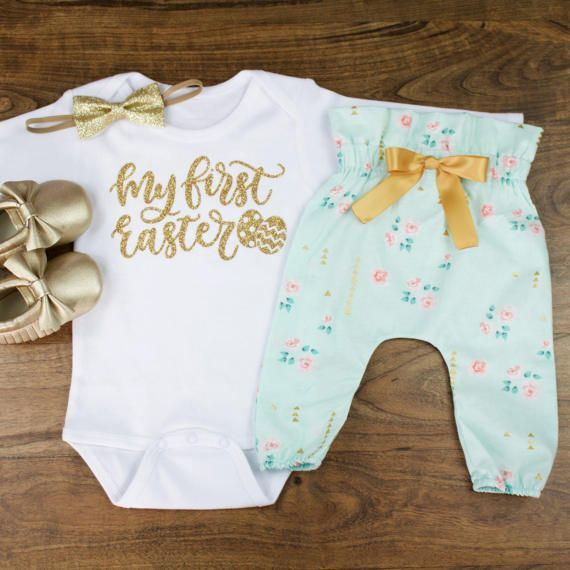 baby girl Easter outfit | My 1st Easter | Baby Easter Outfit | Mint Floral High Wasted Pants With Gold Glitter My First Easter Outfit by OliveLovesApple