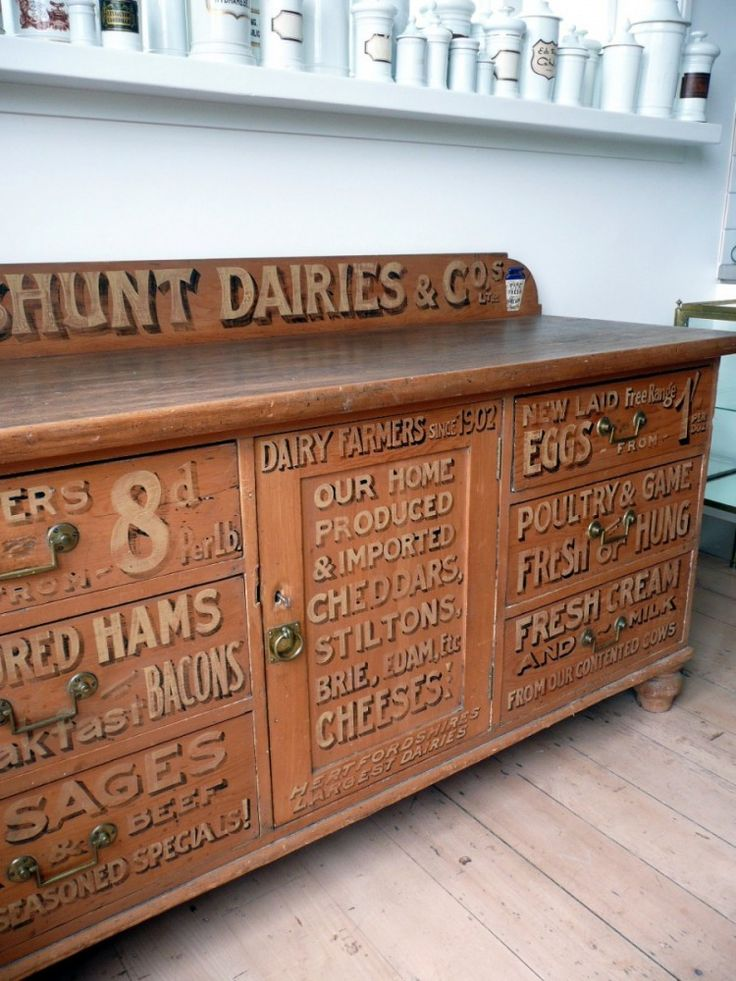 Victorian sign painted Dairy Pine Chiffonier from England c.1880