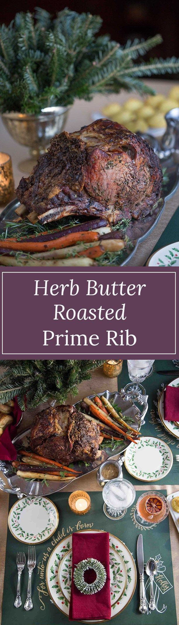 Herb Roasted Prime Rib is a show-stopping Christmas dinner entree. It's easy to make, and includes a guide on how to cook it to your desired temperature.