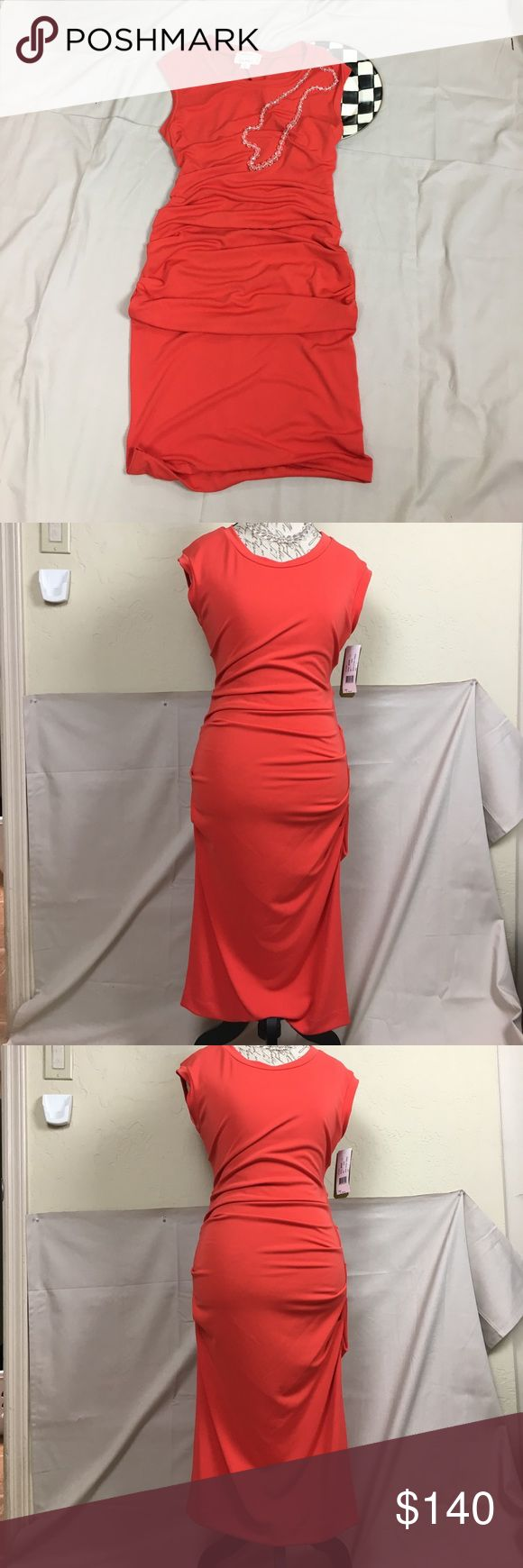 Nicole Miller dress. Tank style dress. Nicole Miller Arteiler designer tank style dress. This is a pull on, no zipper. Note the back. Sexy but not revealing.  Amazing deep orange Jersey material. This won't disappoint. Size L. I am about a 8-10 and it fits perfectly. IVY-2019 Nicole Miller Dresses Maxi